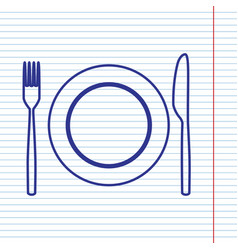 Fork knife and plate sign navy line icon vector