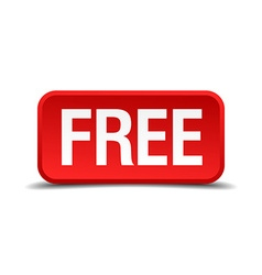 Free red 3d square button isolated on white vector