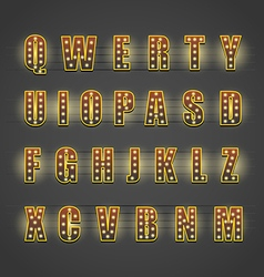 Glowing letters collection Design elements vector image