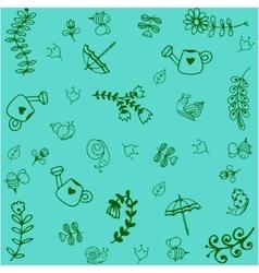Green garden doodle art vector image vector image