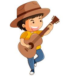 happy boy playing guitar vector image vector image
