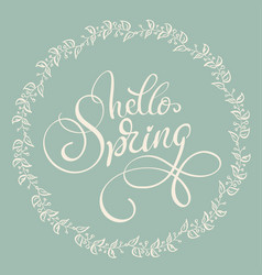 Hello spring text on light green background vector