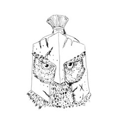 Horned owl spartan helmet drawing vector