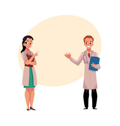 male and female doctors in medical coats holding vector image vector image