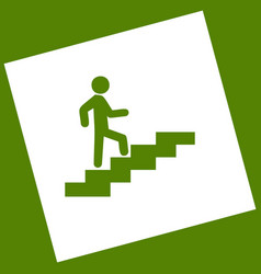 Man on stairs going up white icon vector