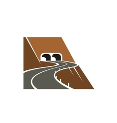 Mountainside winding road and tunnel vector