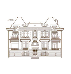 Ocher drawing of the castle vector