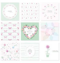 Romantic design elements set included seamless vector