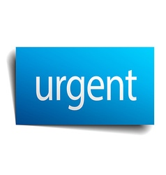 Urgent blue paper sign isolated on white vector