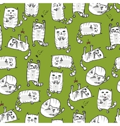 White cute cats seamless background vector