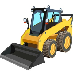 Yellow skid loader vector