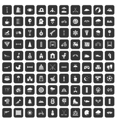 100 kids games icons set black vector