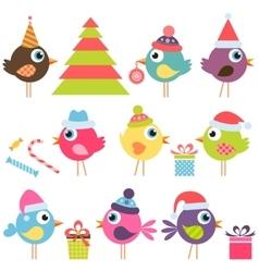 set of funny birds with santa hats vector image