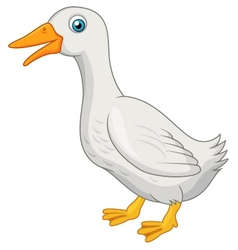 Cute white duck cartoon vector image
