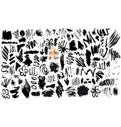 Set of black ink stain vector