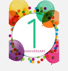 Template 1 anniversary congratulations greeting vector