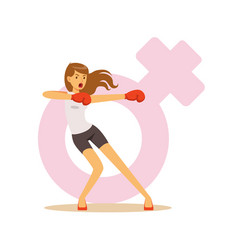 Angry woman boxing wearing boxing gloves feminism vector
