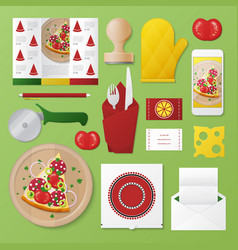 Pizzeria identity template mockup vector