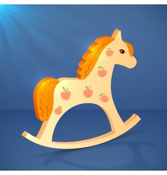 Little cartoon wooden horse toy vector