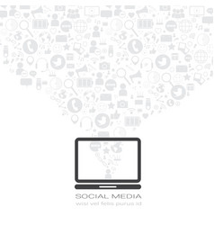 laptop computer with social media icons on white vector image