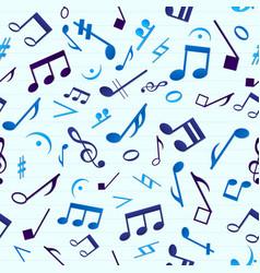 Blue music seamless pattern vector