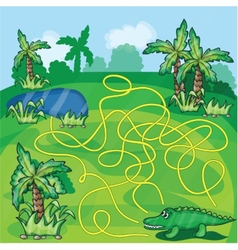Maze game with crocodile vector