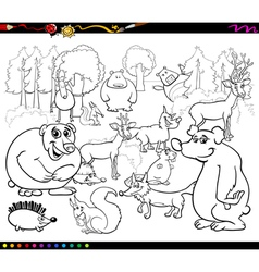 Wild animals coloring book vector