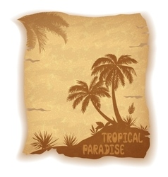 Tropical sea landscape with palm trees vector