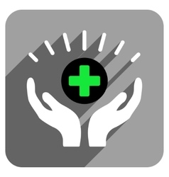 Medical prosperity flat square icon with long vector