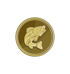 Barramundi gold coin retro vector