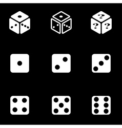 White dice icon set vector