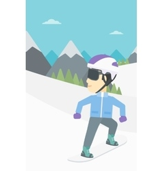 Young man snowboarding vector