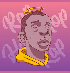 Black man with a halo on a background of pink vector