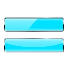 Blue turquoise buttons rectangular web icons with vector