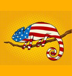 chameleon colored in american flag pop art vector image vector image