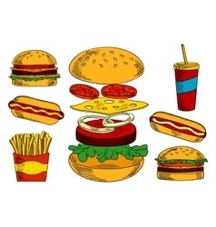 Cheeseburgers hot dogs fries and coffee sketches vector
