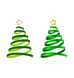 Christmas ribbon trees vector image vector image