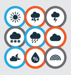 Climate icons set collection of douche moonlight vector