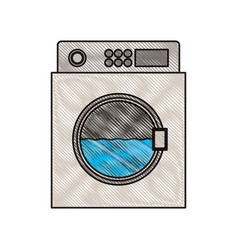 colored crayon silhouette of wash machine vector image