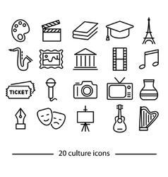 culture line icons vector image