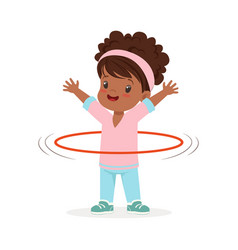 Girl spining a hula hoop around the waist kid vector
