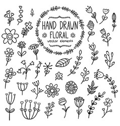Hand drawn floral elements for your design vector