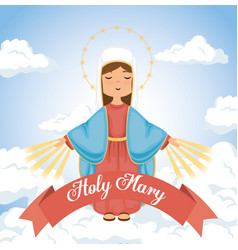 Holy mary religious card vector