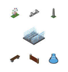 Isometric city set of recreation barrier highway vector