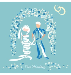 Just married couple and floral arch vector
