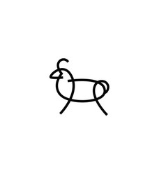Linear stylized drawing of sheep or ram vector
