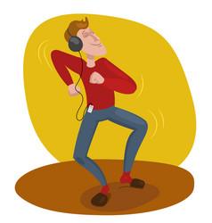 Man dancing in headphones vector