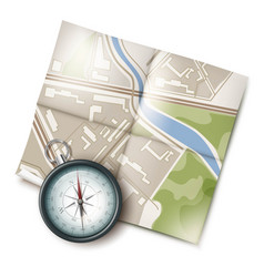 map and compass vector image vector image