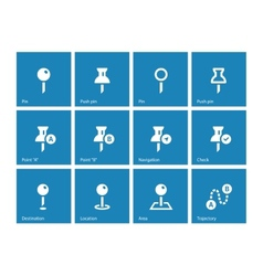 Mapping Pin icons on blue background vector image vector image