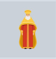 Orthodox metropolitan in red soutane vector